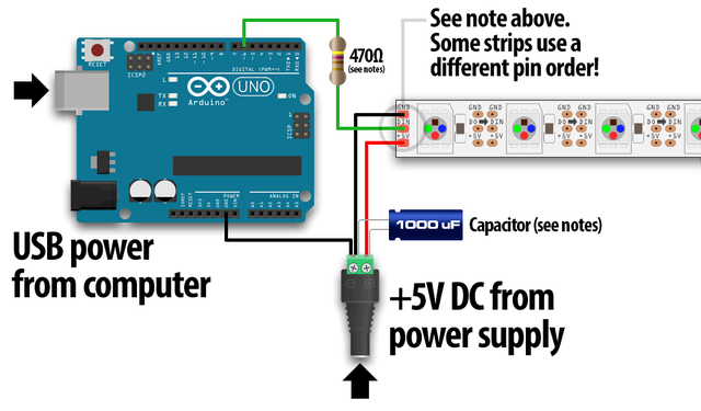 Schematic of Arduino, Neopixel and 5V DC power supply