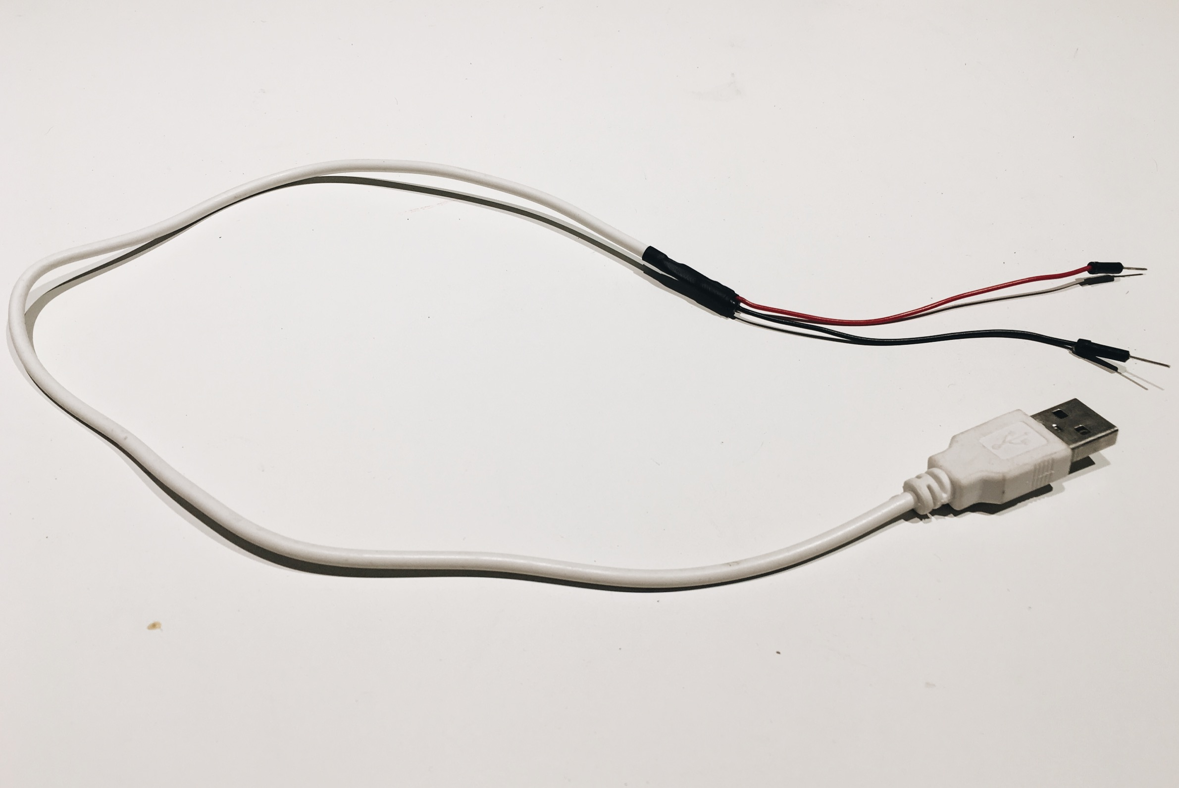 USB cable with stripped wires